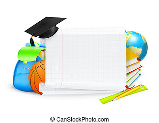 schule, banner, vektor