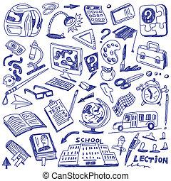 schule, bildung, -, doodles