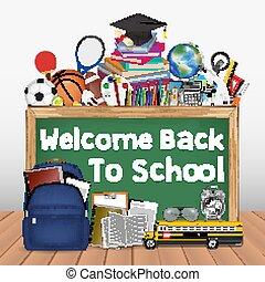 schule, bildung, werkzeuge, zurück, tafel