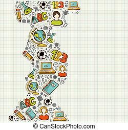 schule, bildung, zurück, icons., karikatur