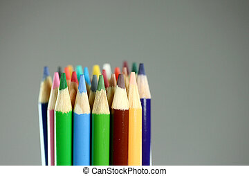 schule, bleistifte hat gefärbt, mit, extrem, schärfentiefe