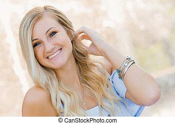 schule, blond, foto, hoch, älter, draußen, m�dchen, kaukasier