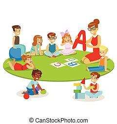 schule, boden, alphabet, sitzen, liegende , junger, lehrer, baumschule, lernen, spielende kinder