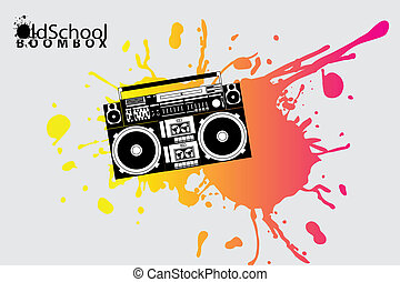 schule, boombox, altes