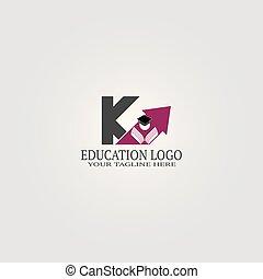 schule, brief, elemente, identität, logo, k, -vector, abbildung, symbol, vektor, schablone, international, heiligenbilder, bildung, oder