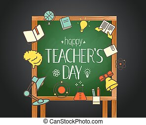 schule, card., gruß, abbildung, zurück, vektor, lehrer, calligraphic, tag