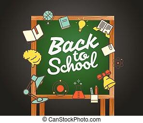 schule, card., zurück, abbildung, calligraphic, vektor, gruß