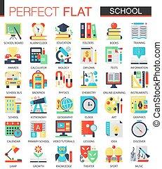 schule, edication, vektor, komplex, wohnung, ikone, begriff, symbole, für, web, infographic, design.