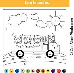 schule, färbung, farbe, spiel, zurück, erzieherisch, thema, kinder, bus., zahlen, kinder, seite
