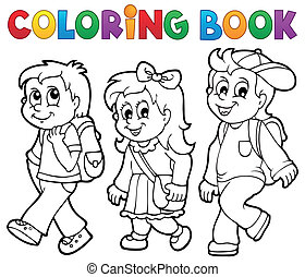 schule, färbung, kinder, thema, 2, buch
