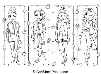 schule, färbung, studenten, mädels, uniform, buch