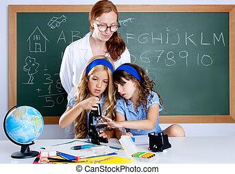 schule, frau, studenten, lehrer, kinder, streber