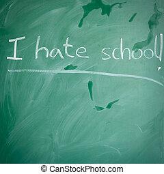 schule, greenboard, rebellisch, hass, kinder, concept: