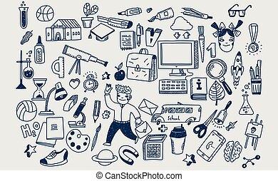 schule, heiligenbilder, gekritzel, hand, symbole, vektor, gezeichnet