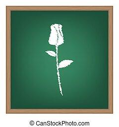 schule, illustration., rose, effekt, zeichen, tafelkreide, grün, board., weißes