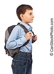 schule, kind, mit, rucksack