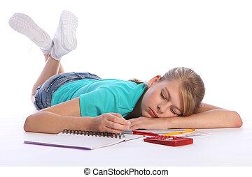 schule, muede, fällt, schlafend, mathe, m�dchen, hausaufgabe