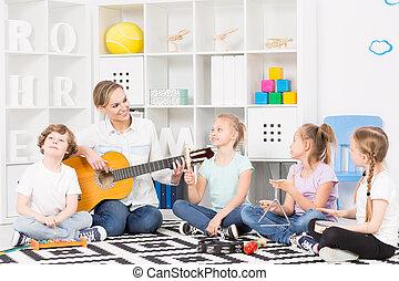 schule, musik, gruppe, an, ihr, wöchentlich, probe