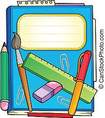 schule, notizblock, mit, schreibwaren