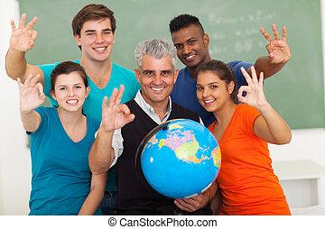 schule, okay, studenten, zeichen, hoch, geben, lehrer