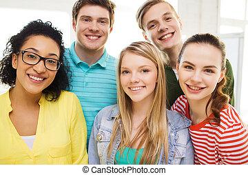 schule, personengruppe, daheim, lächeln, oder