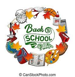 schule, posten, rahmen, herzlich willkommen, zurück, schreibwaren