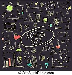 schule, satz, illustration., groß, blackboard., vektor
