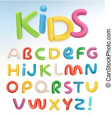 schule, satz, plastik, vektor, font., kinder, 3d