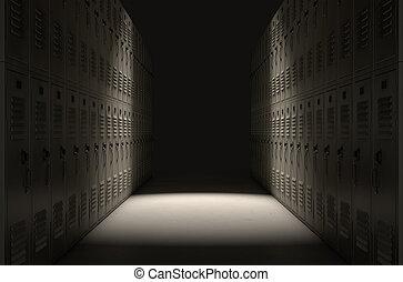 schule, schließfach, korridor