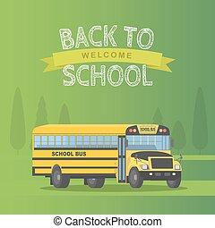 schule, schoolbus, zurück, gelber , freigestellt, hintergrund., vektor, grün, abbildung, zeichen