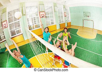 schule, spielende , turnhalle, volleyball, teenager