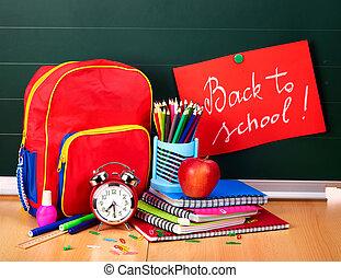 schule, supplies., zurück