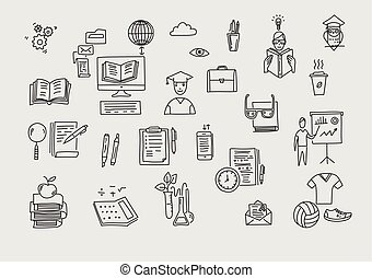 schule, symbols., heiligenbilder, gekritzel, hand, vektor, gezeichnet