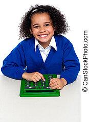 schule, taschenrechner, afrikanisch, elementar, gebrauchend, kind