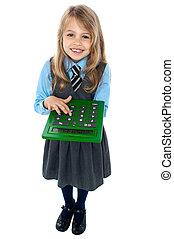 schule, taschenrechner, uniform, hübsch, kind, gebrauchend