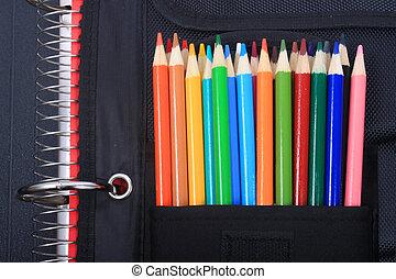 schule, und, kunstvorräte