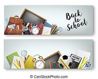 schule, vektor, tols, zwei, zurück, überlagert, chalkboard., vorräte, banner