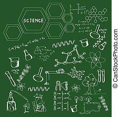 schule, wissenschaft, hand, doodles, gezeichnet, brett