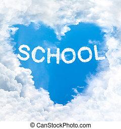 schule, wort, auf, blauer himmel