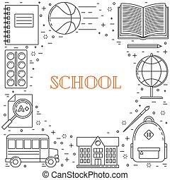 schule, zurück, abbildung