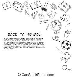 schule, zurück, hintergrund., füllen, verschieden, supplies., lineart
