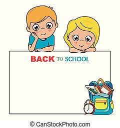 schule, zurück, karte