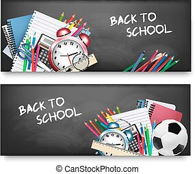 schule, zwei, supplies., vector., horizontale banner