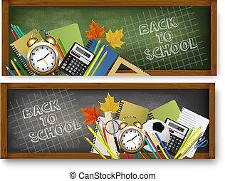 schule, zwei, zurück, supplies., vector., banner