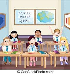 schulkinder, in, klassenzimmer