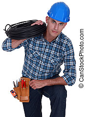 schulter, elektriker, kabel, aus, besitz, spule
