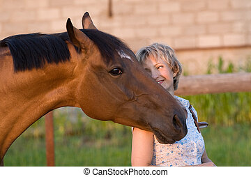 schulter, pferdekopf, womans