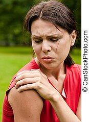 schulter, -, sportlerin, verletzung, schmerz
