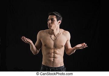 schultern, seine, muskulös, zucken, charismatic, mann