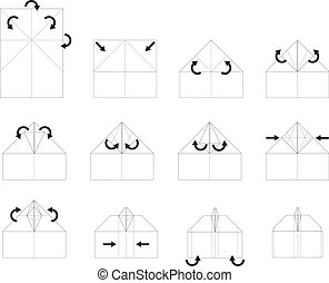 schuluntericht, origami, vektor